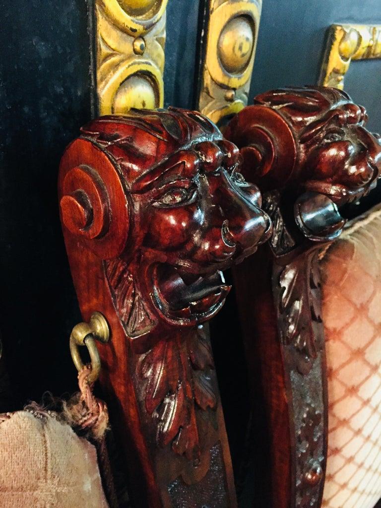 19th Century Armchair Antique Baroque Style Scissor Chair Lion Heads For Sale 1