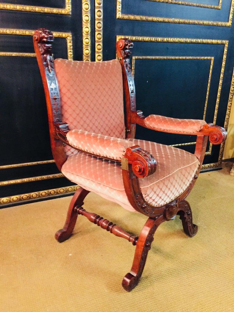 19th Century Armchair Antique Baroque Style Scissor Chair Lion Heads For Sale 3
