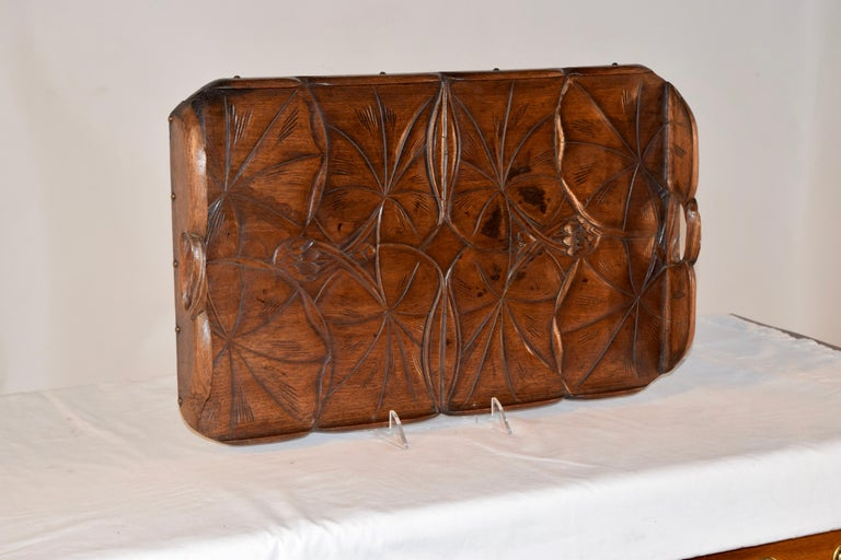 English 19th Century Art Nouveau Carved Tray For Sale