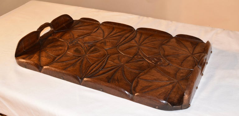 Oak 19th Century Art Nouveau Carved Tray For Sale