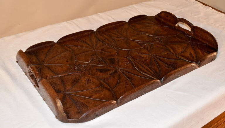 19th Century Art Nouveau Carved Tray For Sale 1
