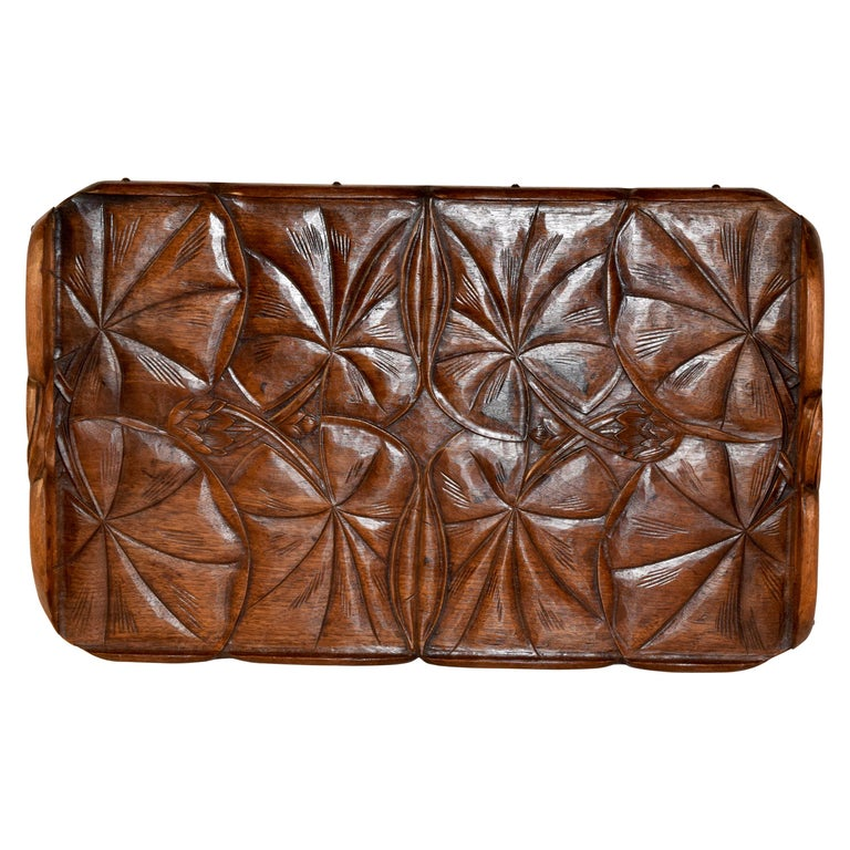 19th Century Art Nouveau Carved Tray For Sale