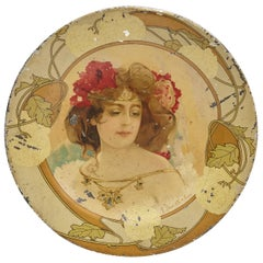 19th Century Art Nouveau Metal Plate