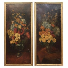 19th Century Art Nouveau Paintings Flowers Filippo Anivitti, 1895