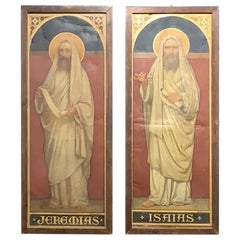 19th Century Art Nouveau Pair of Linen Painting Jeremias and Isaias, 1895