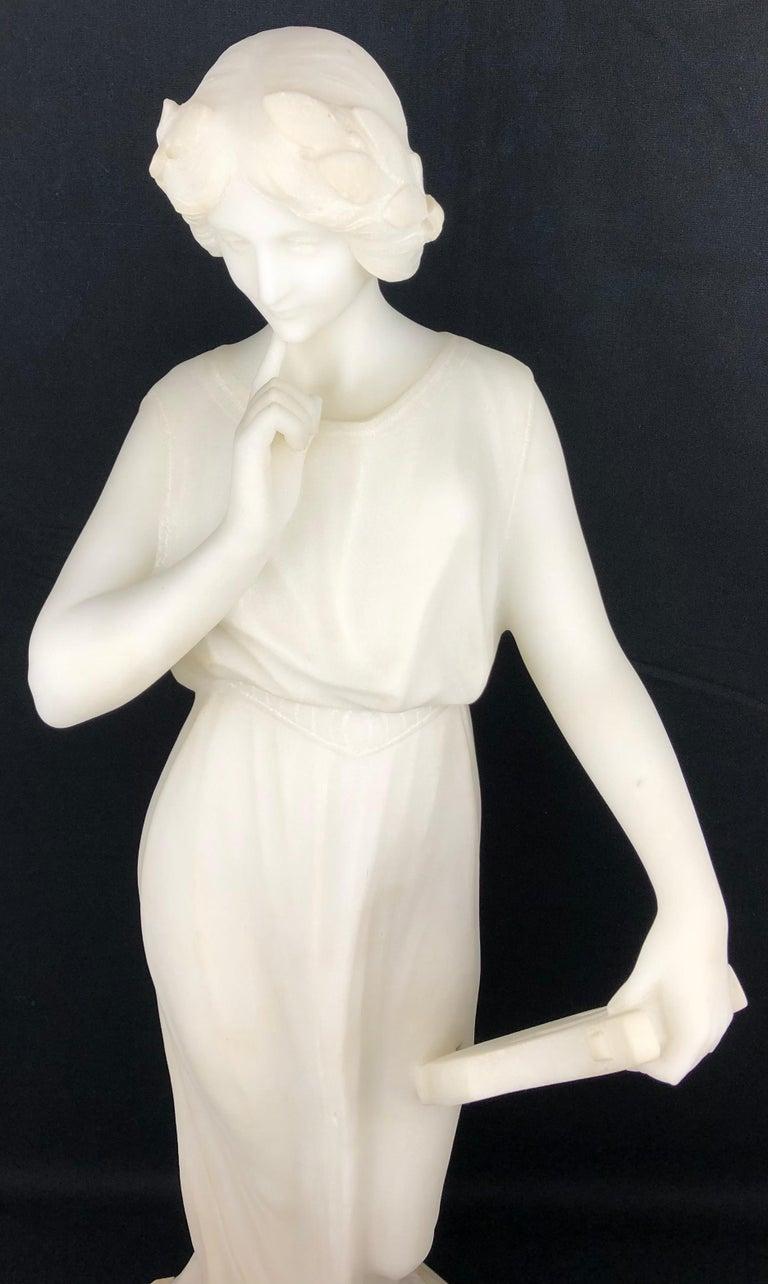 19th Century Art Nouveau White Carrara Marble Sculpture by Guglielmo Pugi Signed For Sale 5