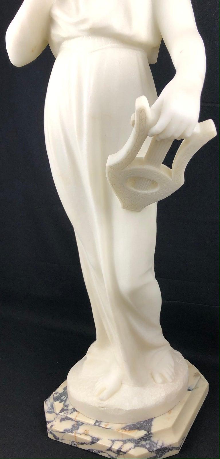 19th Century Art Nouveau White Carrara Marble Sculpture by Guglielmo Pugi Signed For Sale 7