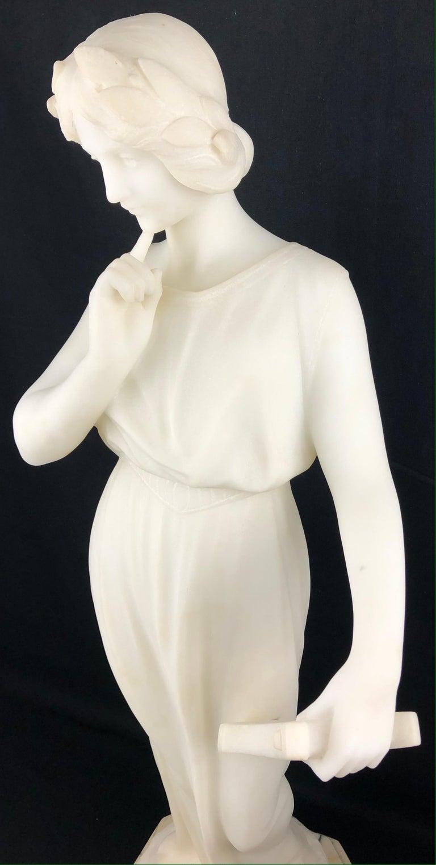 Italian 19th Century Art Nouveau White Carrara Marble Sculpture by Guglielmo Pugi Signed For Sale