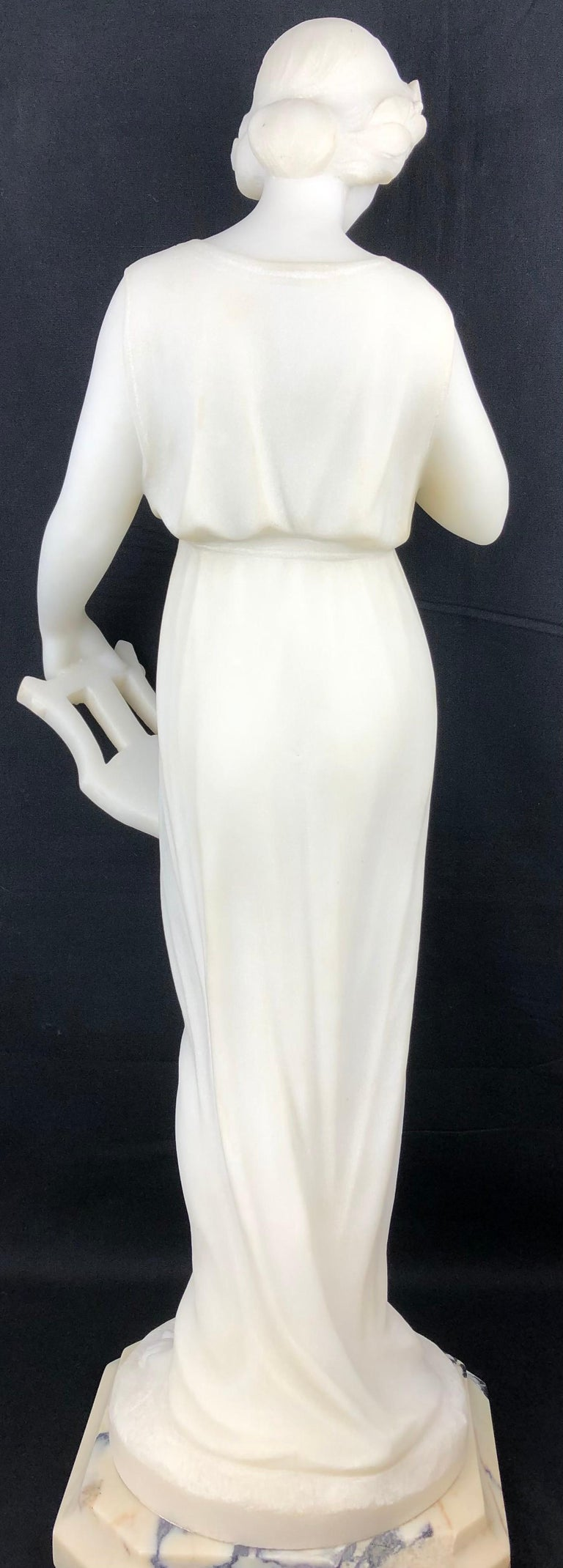 19th Century Art Nouveau White Carrara Marble Sculpture by Guglielmo Pugi Signed In Good Condition For Sale In Arles, FR