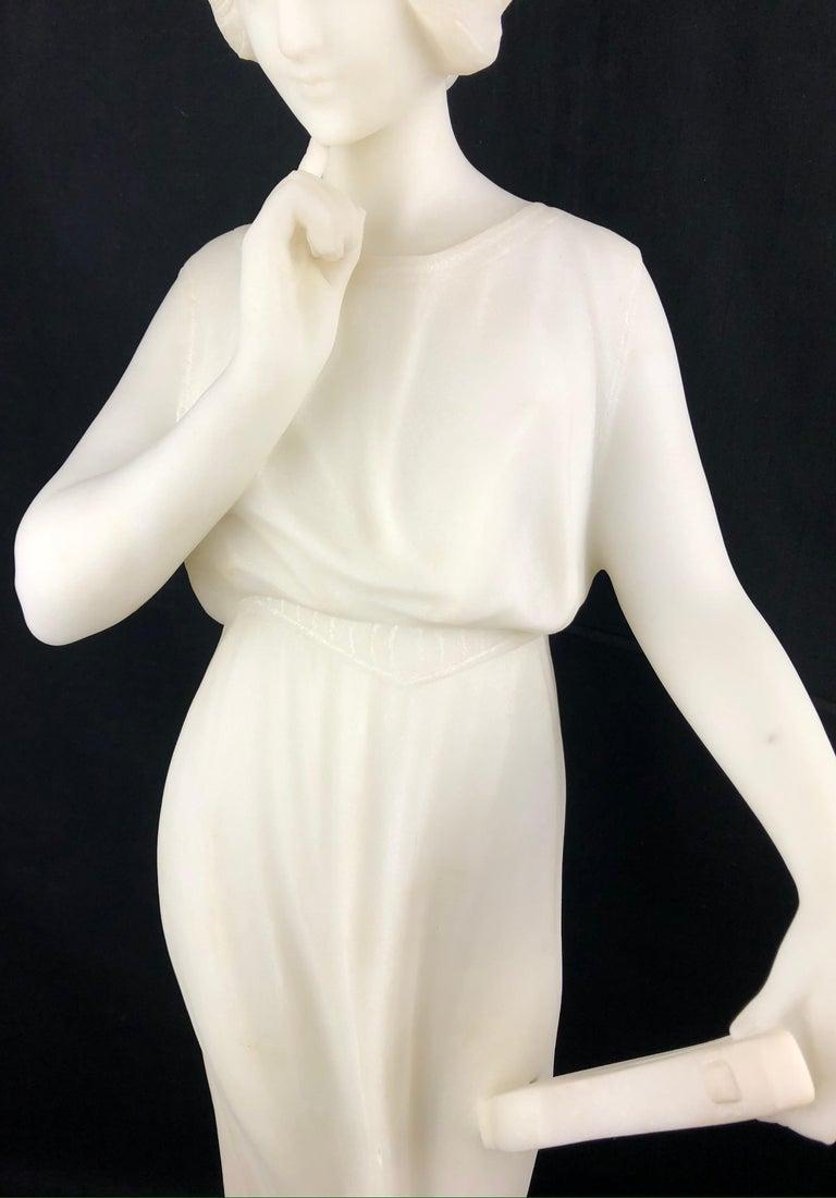 20th Century 19th Century Art Nouveau White Carrara Marble Sculpture by Guglielmo Pugi Signed For Sale