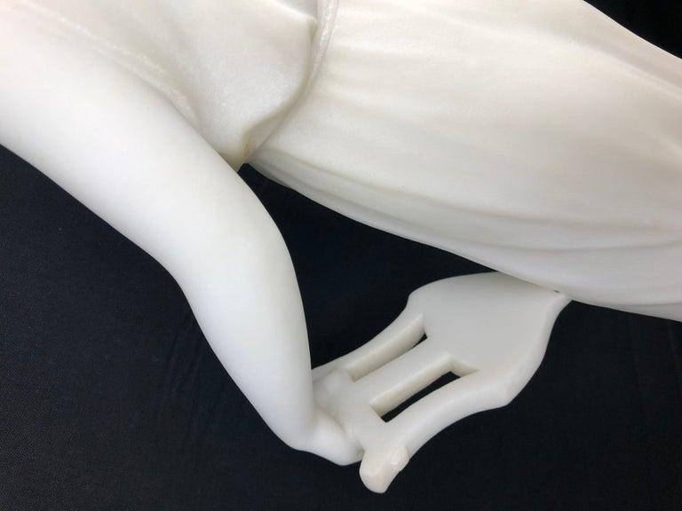 19th Century Art Nouveau White Carrara Marble Sculpture by Guglielmo Pugi Signed For Sale 2