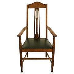 19th Century Arts & Crafts Oak Armchair