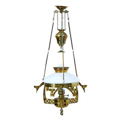 19th Century Arts & Crafts Brass Hanging Oil Chandelier