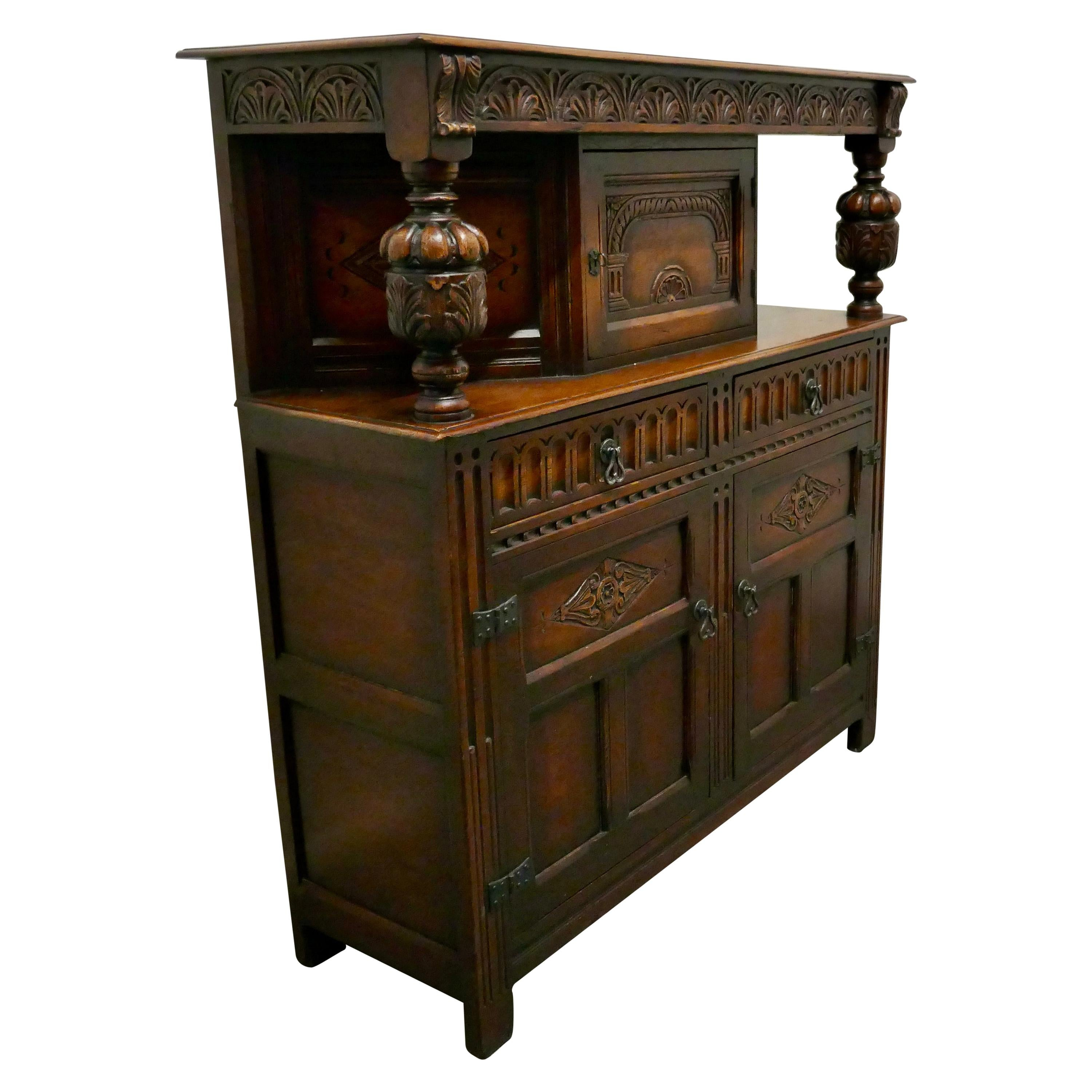 19th Century Arts & Crafts Gothic Carved Oak Court Cupboard