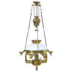 19th Century Arts & Crafts Brass Hanging Oil Chandelier