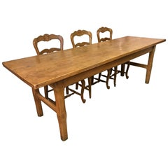 19th Century Ash Two Plank Top French Farmhouse Table