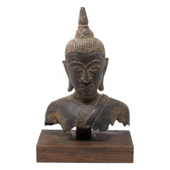 19th Century Asian Bronze Buddha Torso on a Wooden Pedestal