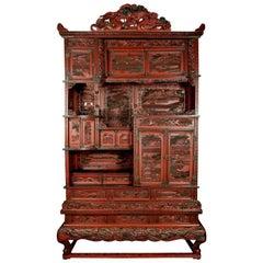 19th Century Asian Cinnabar Cabinet