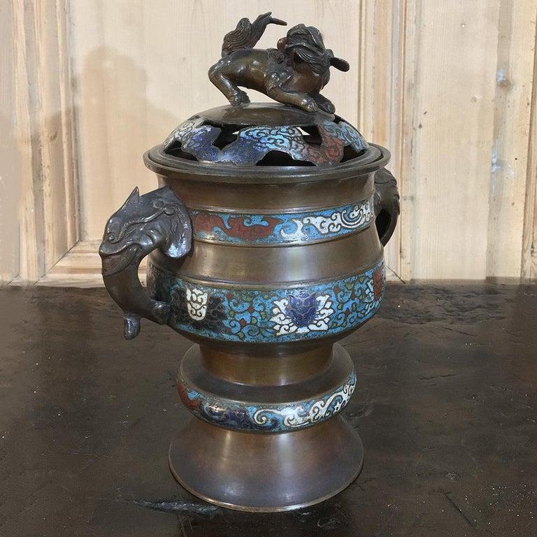 19th Century Asian Cloisonné Incense Burner For Sale 3