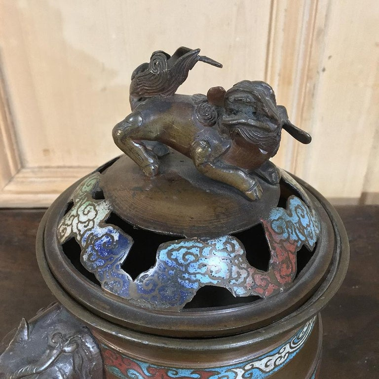 Chinoiserie 19th Century Asian Cloisonné Incense Burner For Sale