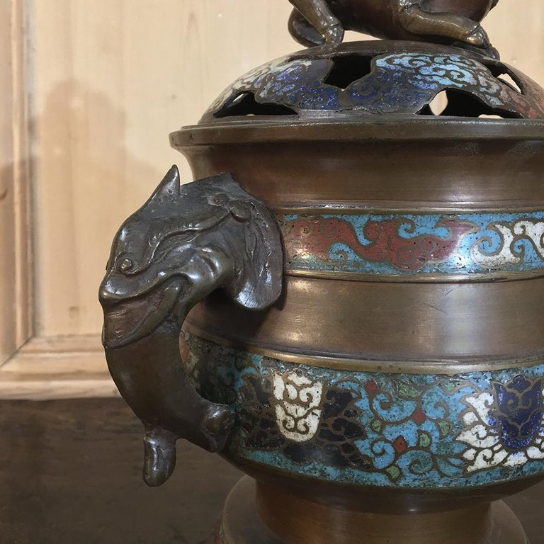 Chinese 19th Century Asian Cloisonné Incense Burner For Sale