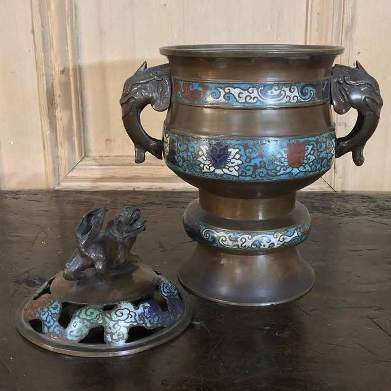 Bronze 19th Century Asian Cloisonné Incense Burner For Sale