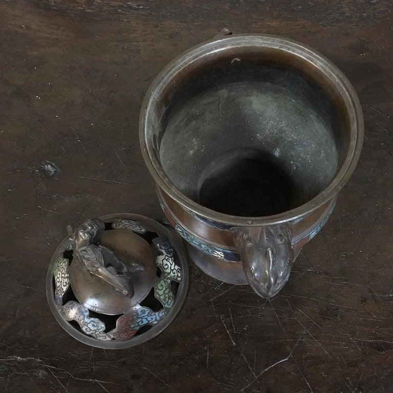 19th Century Asian Cloisonné Incense Burner For Sale 2