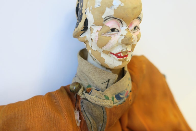 Silk 19th Century Asian Doll For Sale