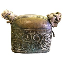 19th Century Asian or Indian Primitive Bronze Cow Bell Original Leather Straps