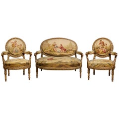 19th Century Aubusson Giltwood Salon Suite with Settee and Pair of Armchairs