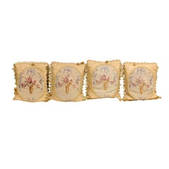 19th Century Aubusson Tapestry Pillows with Ribbon-Tied Bouquets and Tassels