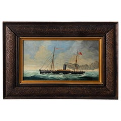 "19th Century Australian Oil Painting of the ""60 Miler"" Ship by T. Winter"