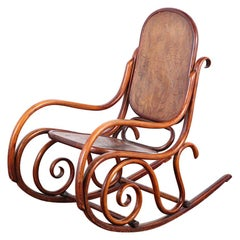 19th Century Austrian Bendwood Rocking Chair with Pressed Seat and Back Thonet