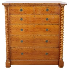 19th Century Austrian Biedermeier Commode or Tall Chest of Drawers in Birch Wood