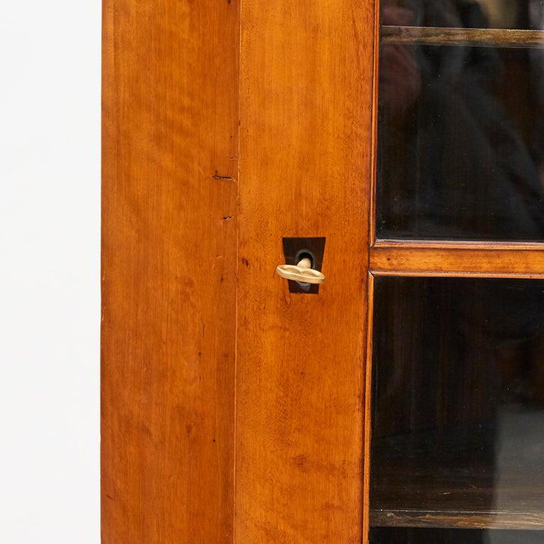 19th Century Austrian Biedermeier Corner Cabinet in Flame Birch Veneer For Sale 6