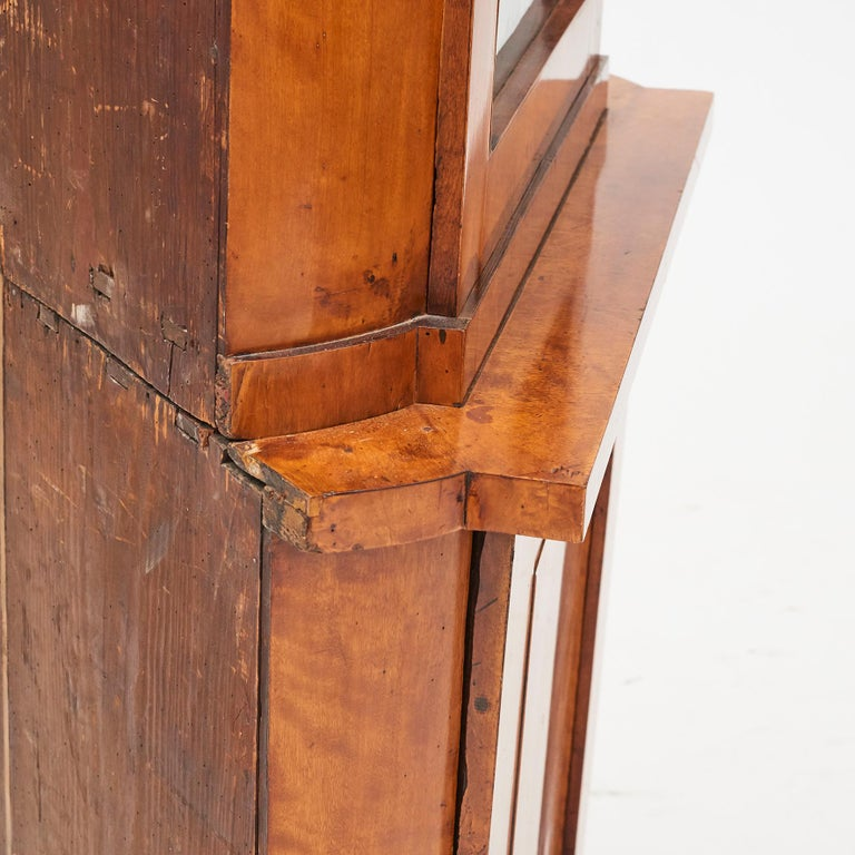 19th Century Austrian Biedermeier Corner Cabinet in Flame Birch Veneer For Sale 8