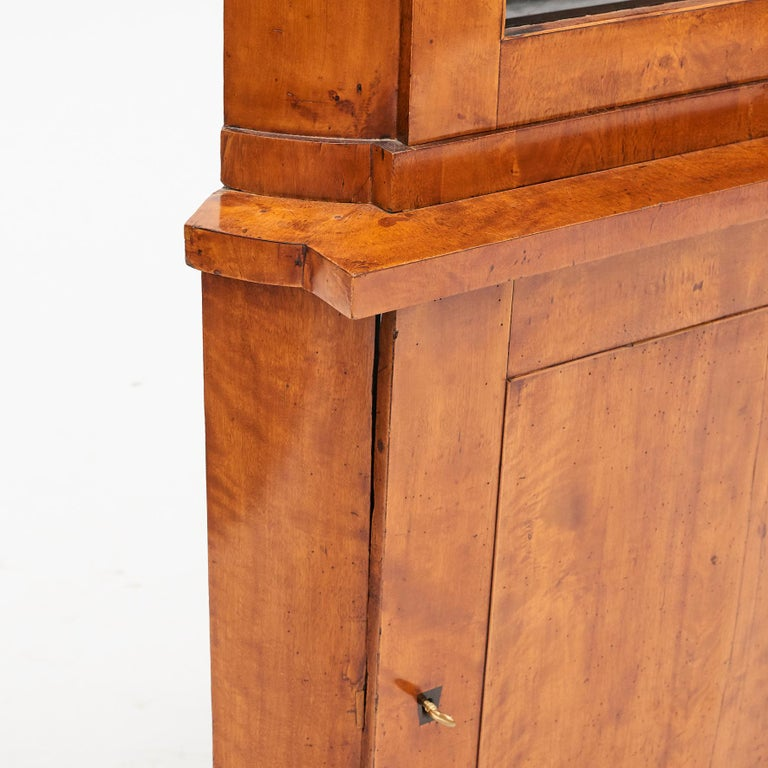 19th Century Austrian Biedermeier Corner Cabinet in Flame Birch Veneer For Sale 4