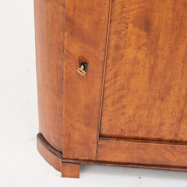 19th Century Austrian Biedermeier Corner Cabinet in Flame Birch Veneer For Sale 5