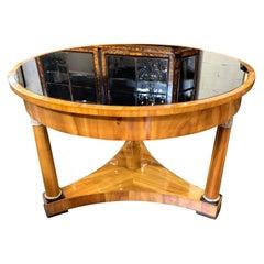 19th Century Austrian Biedermeier Empire Style Table Walnut Center Table