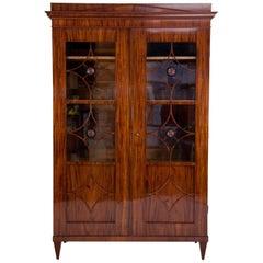 19th Century Austrian Biedermeier Flame Mahogany Neoclassical Style Bookcase