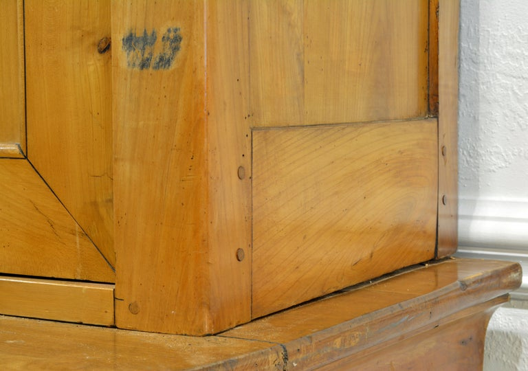 19th Century Austrian Biedermeier Fruit Wood Step Back Two Part Cubboard 9