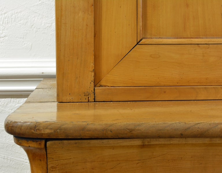 19th Century Austrian Biedermeier Fruit Wood Step Back Two Part Cubboard 10