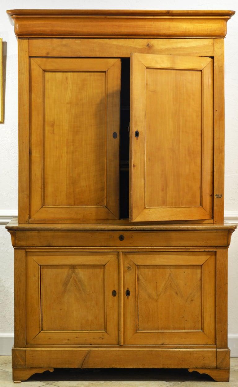 Fruitwood 19th Century Austrian Biedermeier Fruit Wood Step Back Two Part Cubboard