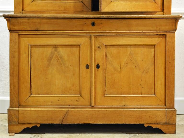 19th Century Austrian Biedermeier Fruit Wood Step Back Two Part Cubboard 1