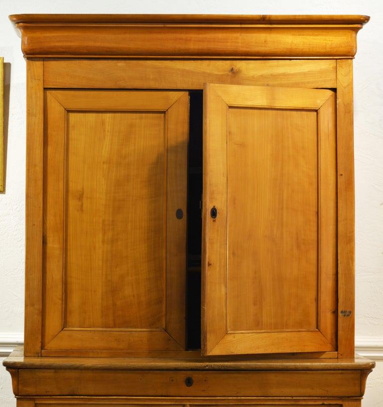 19th Century Austrian Biedermeier Fruit Wood Step Back Two Part Cubboard 2