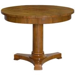 19th Century Austrian Biedermeier Walnut Antique Round Center Table