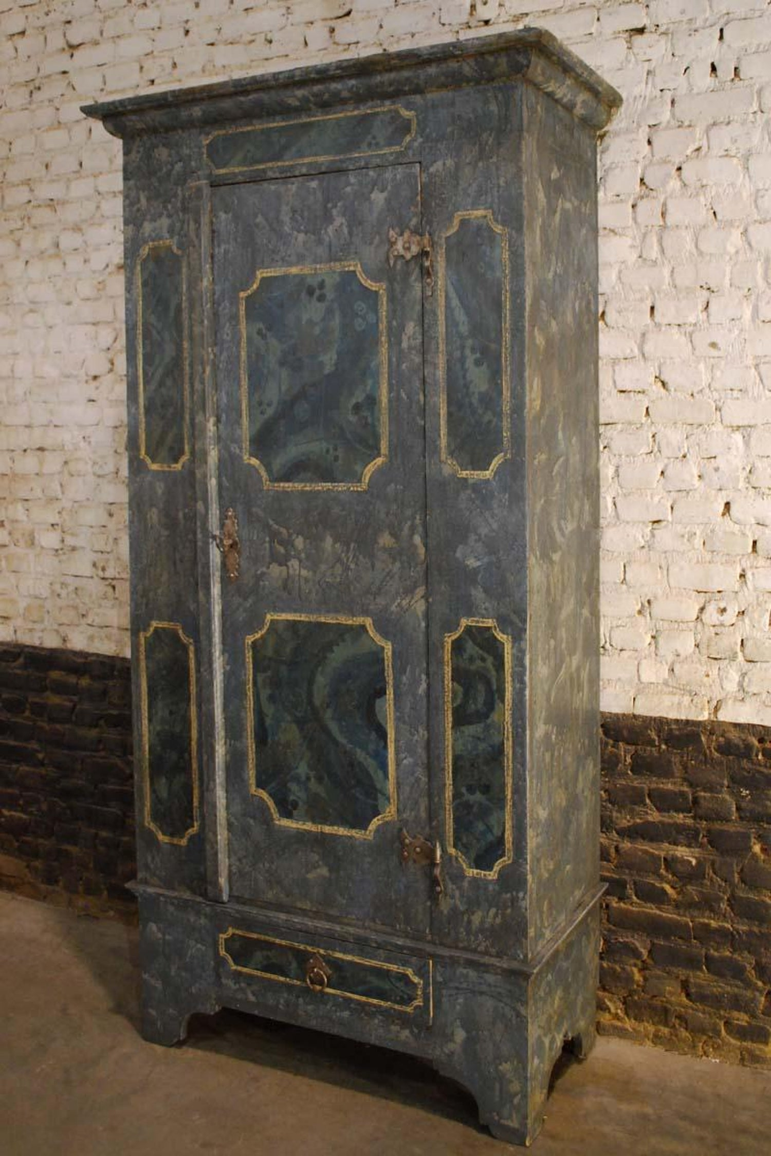 19th Century Austrian Blue Gray Hand Painted Pine Cabinet For At 1stdibs