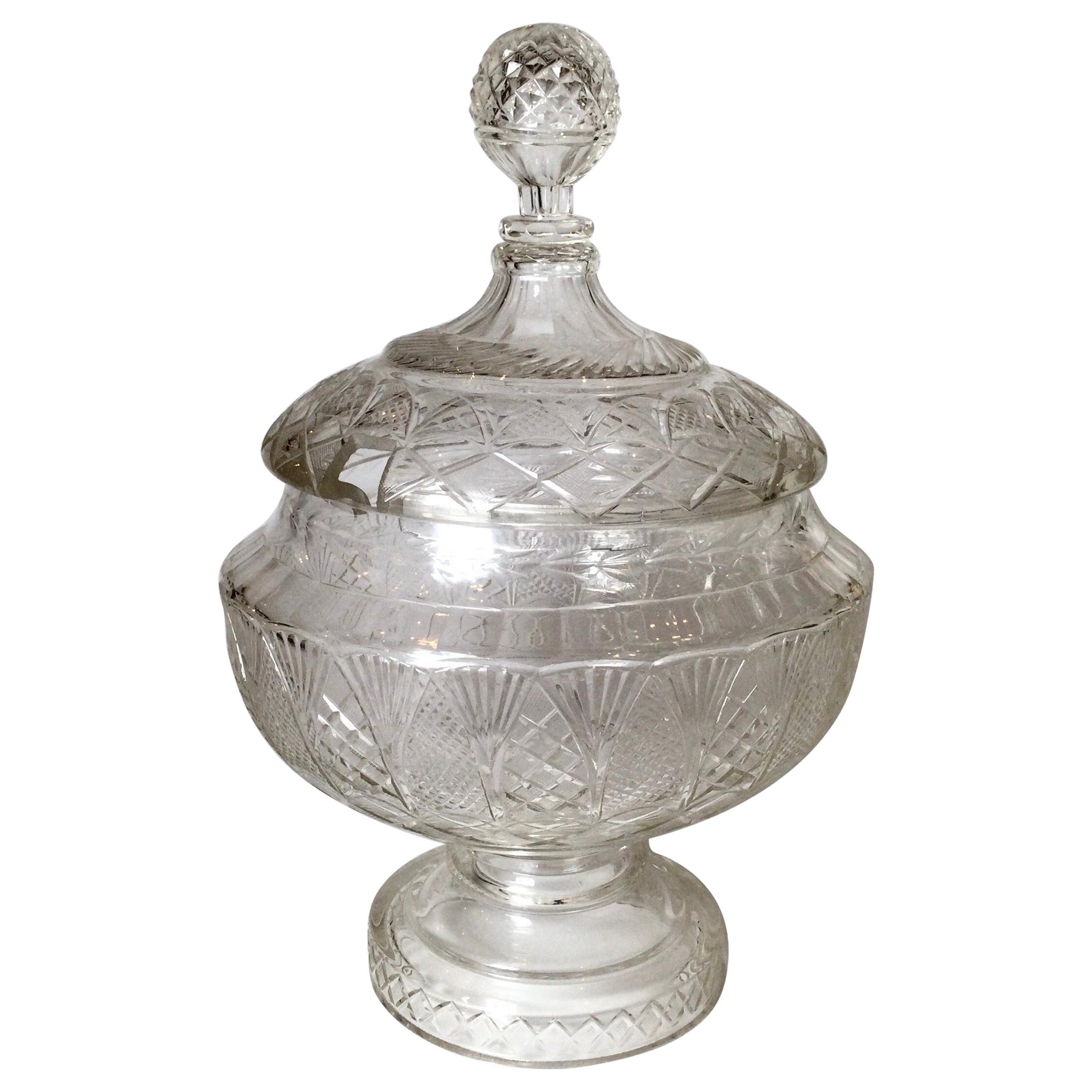 19th Century Austrian Cut Glass Punch Bowl with Lid