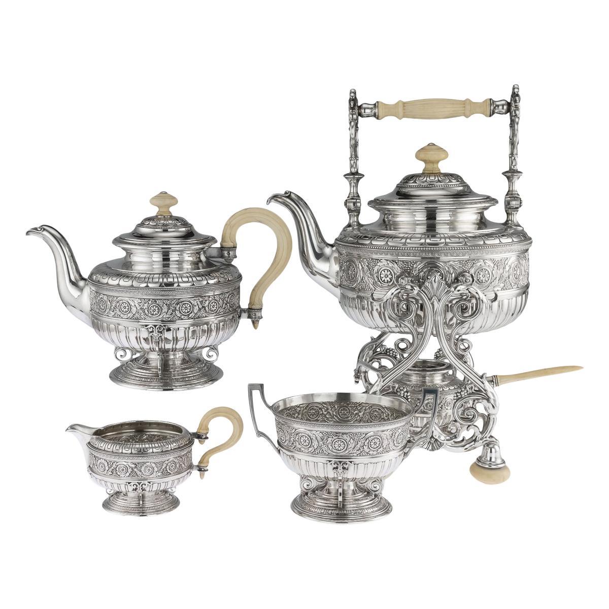 19th Century Austrian Empire Silver Tea Service by Klinkosch, circa 1880