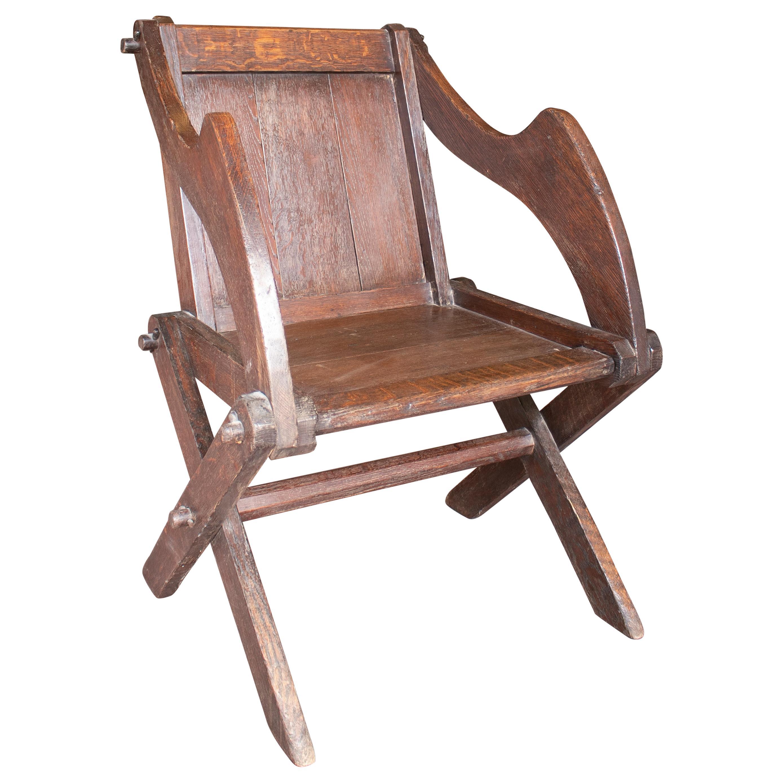 19th Century Austrian Hand Carved Oak Armchair